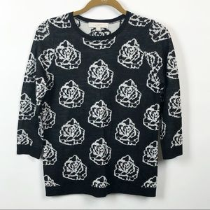 LOFT Black and White Rose Print Sweater Sz MP